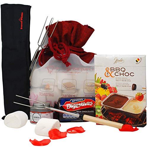 Luxury Large Marshmallows Smores Kit with , 6 BBQ Marshmallows Roasting Forks , Belgium Chocolate Fondue Biscuits | Premium Marshmallow Toasting Kit Gift Set