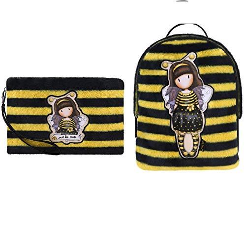 Udc Santoro Gorjuss - Juego de mochila para mujer, piel amarillo/negro, 20 x 22 x 10 cm + 1 neceser de baño, amarillo/negro, 23,5 x 17 x 2, modelo Juste Bee-Cause