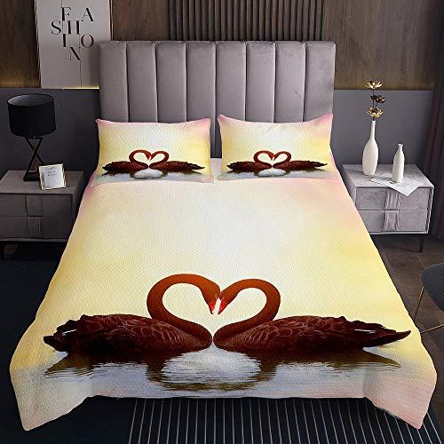 Schwan Romantik Tagesdecke 240x260cm Rosa See Steppdecke für Kinder Jungen Mädchen Liebhaber Herz gelb Weichste Bettwäsche Set Tagesdecke Bettbezug 3St