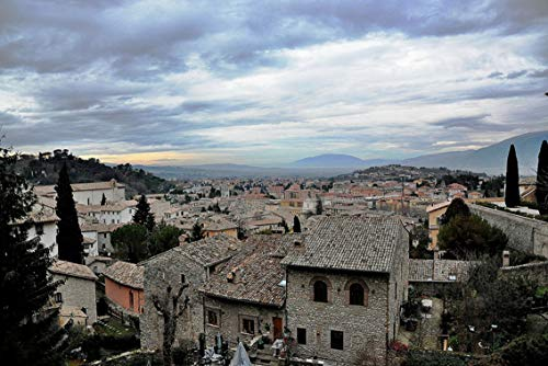 ING Wall Art Print on Canvas(32x21 inches)- Spoleto Roofs Umbria Landscape Houses Sky