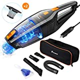 Foxnovo 6th Gen Car Vacuum Cleaner High Power Suction, 2 HEPA Filters 120W Auto Portable Handheld Vacuum Cleaner, Low Noise Wet Dry Vacuum Cleaner for Car Interior Care, Carry Bag