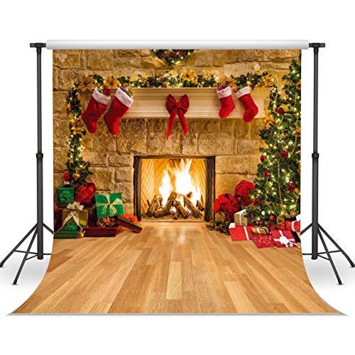 LYWYGG 10x10FT Fondo de Fotografía de Navidad Fondo de Chimenea Interior Fondo de Cena de Navidad Fondo de Fiesta Familiar Fondo de Estufa de Navidad CP-282-1010