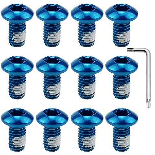 DXLing 12 STÜCKE Blau Bremsscheiben Schrauben Stahl Bremsscheibenschraube M5 * 9mm Fahrrad Scheibenbrems Schrauben mit T25 Innensechskantschlüssel für Mountainbike Radfahren Bike Repair