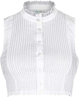 Trachten Stoiber Damen Dirndl Bluse hochgeschlossen ohne Arme weiß, Weiss, 32