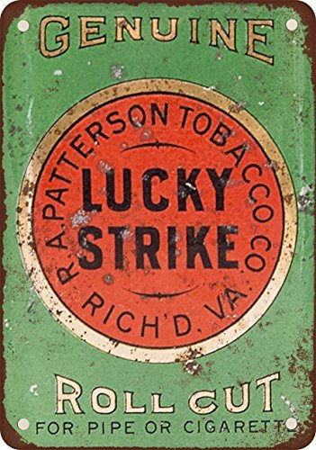 VEHFA Lucky Strike Pipe and Cigarette Roll Cut Tobacco Vintage Look Reproduction Metal Tin Sign 12X18 Inches
