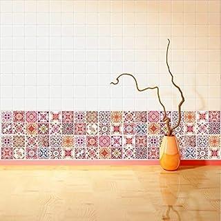 Walplus Adhesivos de pared extraíble Autoadhesivo Arte Mural VINILO DECORACIÓN HOGAR BRICOLAJE Living Cocina Dormitorio Decor papel pintado regalo Marroquí Rojo Rosa Azulejo Mosaico Pegatina - 10cm