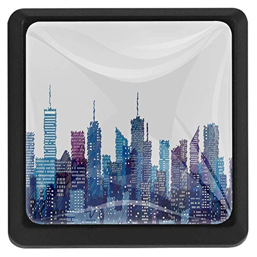 New York Knobs, Skyline of NYC Manhattan Brooklyn Bronx Queens Scratched Pattern 3 Pack of Square Kitchen Cupboard Knobs Drawer Pulls with Glass