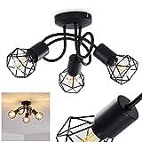 Plafonnier Baripada en métal noir, 3 élégants spots vintages idéal dans un salon rétro, l'abat-jour créé un jeu lumineux au plafond, pour 3 ampoules E14 max. 40 Watt, compatible ampoules LED