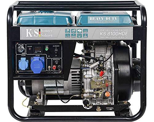 Könner & Söhnen Stromerzeuger KS 8100HDE - Generator Diesel Uhr - 14 PS 4-Takt Dieselmotor mit E-Starter, automatischer Spannungsregler 230v, Vorwärmer, LED-Anzeige, 1x16A, 1x32A Stromgenerator