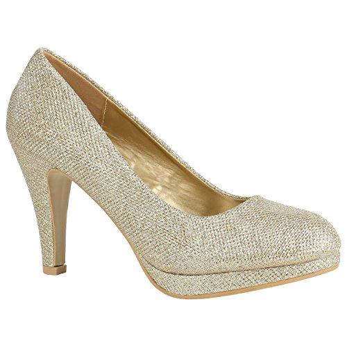Damen Schuhe Pumps Plateau Pumps High Heels Lack Stiletto Elegante 156029 Gold Autol 39 Flandell