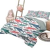 Juego de edredón para sofá cama Juegos de cama para niños con tiburones Mezcla doble de coloridos Patrón de familia de tiburones toro Maestros Depredadores de supervivencia Naturaleza peligrosa Tamaño