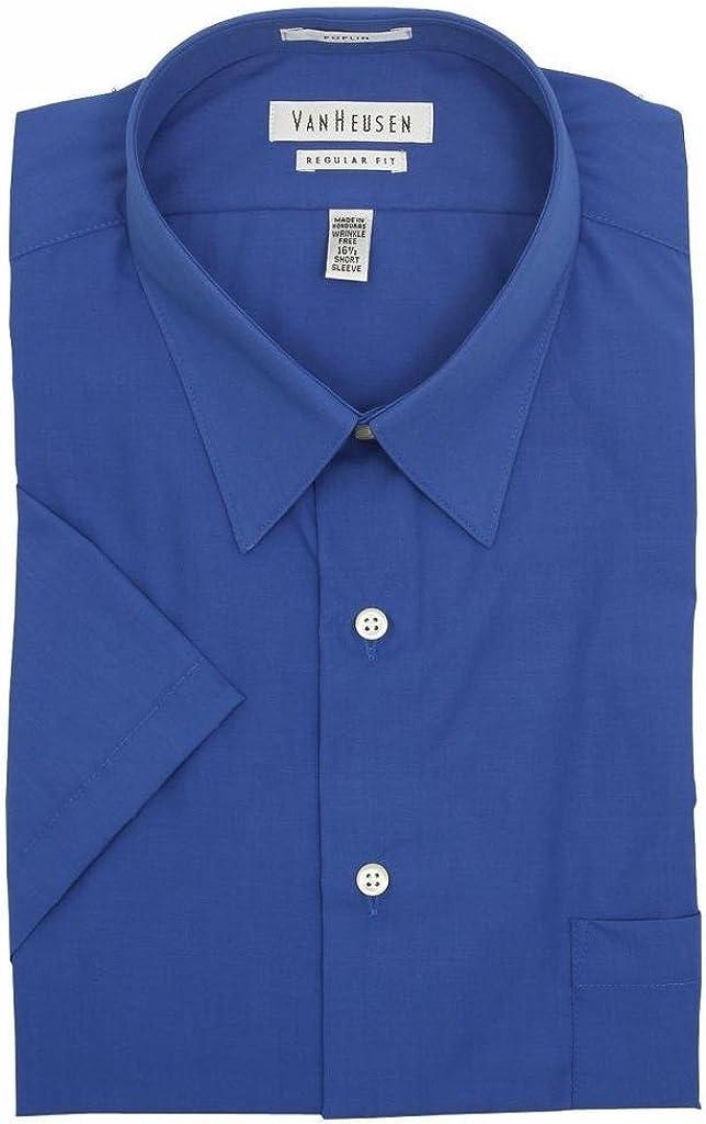 Van Heusen Men's Short Sleeve Poplin Solid - Pacific Blue 15.5