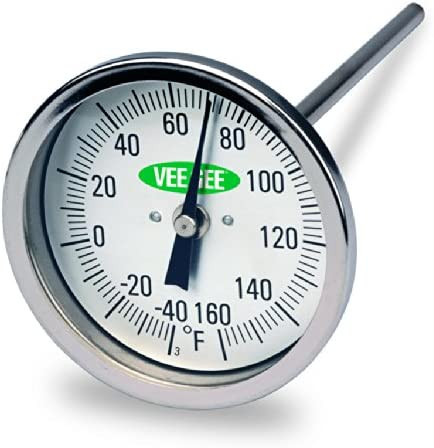 """Vee Gee Scientific 82160-6 Dial Soil Thermometer, 6"""" Stainless Steel Stem, 3"""" Dial Display, -40 to 160-Degree F,Silver product image"""