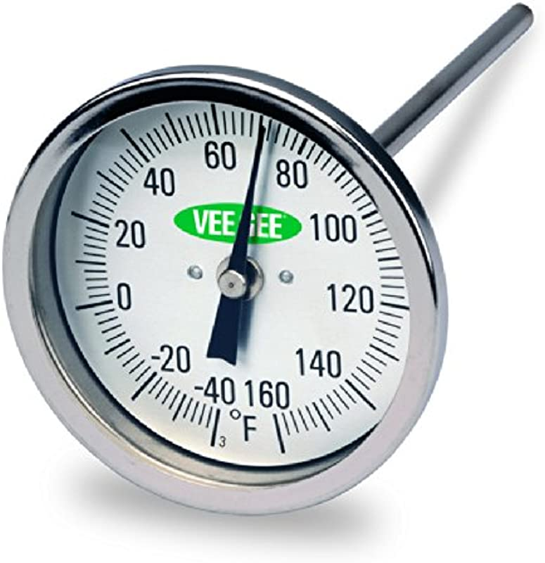 Vee Gee Scientific 82160 6 Dial Soil Thermometer 6 Stainless Steel Stem 3 Dial Display 40 To 160 Degree F