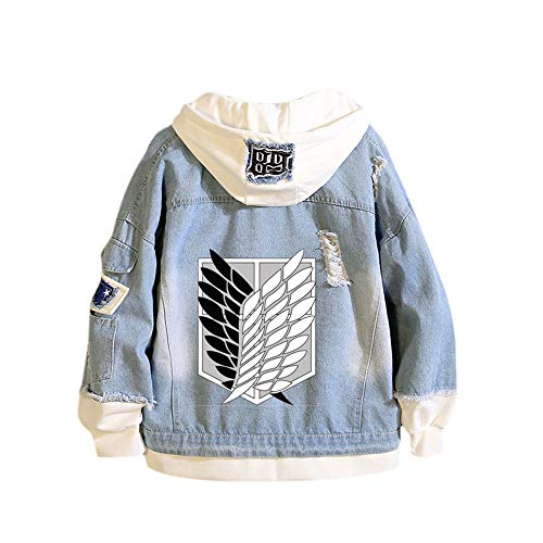 Attack on Titan Chaqueta vaquera, Anime Attack on Titan Cosplay Sudadera con capucha Pullover Shingeki no Kyojin Sudadera con capucha AOT Chaqueta Outwear Abrigos para hombres Mujeres Adolescentes