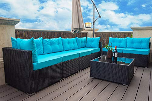 Amolife 7 Pieces Patio Rattan Sofa Set Outdoor Sectional Furniture Wicker Chair Conversation Set with Blue Cover and Tea Table
