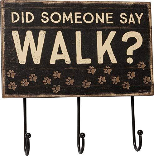 Primitives by Kathy 39355 Slat Wood Hook Board, Did Someone Say Walk