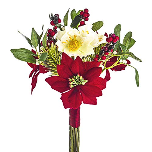FloristryWarehouse Artificial Christmas Rose Mixed Bouquet Poinsettia Mistletoe Pine and Berries 30cm