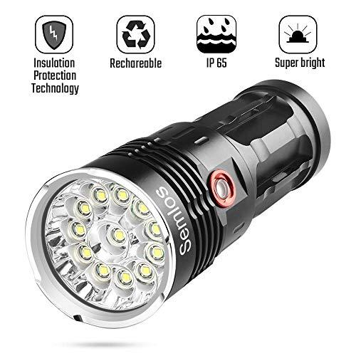Super helle Taschenlampe, leistungsstarke 10000 Lumen CREE LED-Taschenlampe mit wiederaufladbarem, IP 65-Schutz, 50000 Stunden Lebensdauer, 3 Lichtmodi und Isolationsmodus für Camping und Wandern