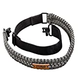 TLO Outdoors Paracord Gun Sling - Extra Wide, Adjustable 2-Point Paracord Sling with Swivels for Rifle, Shotgun, and Crossbows for Hunting & Shooting (550 Rated Nylon, Kernmantle) (Gray)