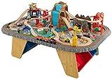 KidKraft- Set de tren con cascada y montaña y mesa, de madera, para niños, juego clásico de actividades ferroviarias con accesorios incluidos (112 piezas)  (17498) , color/modelo surtido