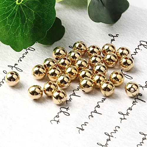 Venta al por mayor 3 4 6 8 10 12 mm Chapado en metal dorado CCB Perlas espaciadoras de semillas redondas para hacer joyas Suministros Accesorios DIY-Gold, 6 mm x 200 piezas