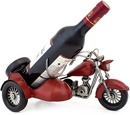 BRUBAKER Wine Bottle Holder Vintage Motorcycle with Sidecar Hand-Painted Metal Sculptures and Figurines Decor Wine Racks and Stands Gifts Decoration