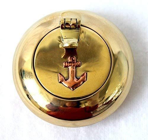 Unbekannt Aschenbecher für unterwegs Taschenascher Messing mit Anker 5 cm Ascher