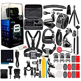 GoPro HERO8 Black Digital Action Camera - Waterproof, Touch Screen, 4K UHD Video, 12MP Photos, Live Streaming… 10 1 x GoPro HERO8 Black | 1 x 50 in 1 Go Pro Accessory Kit | 1 x Microfiber Cloth Up to UHD 4K Video, Slow Motion - HyperSmooth 2.0 Video Stabilization - TimeWarp 2.0 Stabilized Time-Lapse Video - SuperPhoto 12MP Stills with HDR Support Waterproof to 33' without a Housing - Direct Live Streaming to Facebook Live
