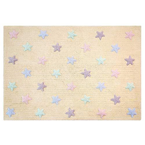 Lorena Canals Tricolore étoiles Lavable Tapis, Coton, Vanille, 120 x 160 x 30 cm