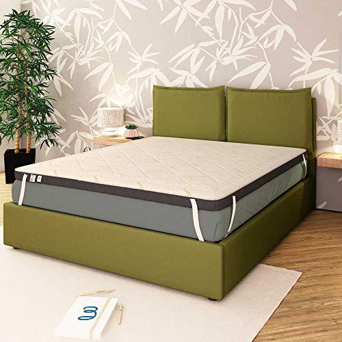 Baldiflex Topper - Colchón de espuma viscoelástica para cama de matrimonio (140 x 200 x 7 cm, con revestimiento de bambú)
