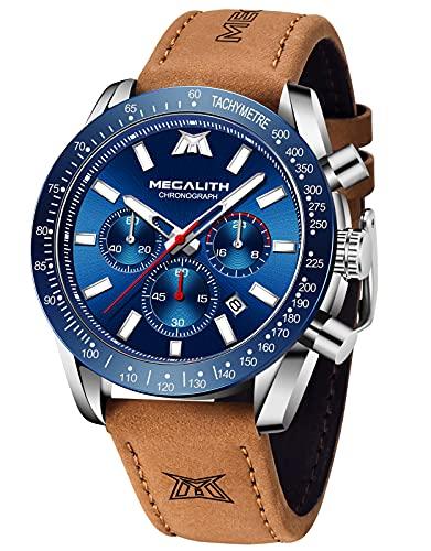 MEGALITH Herren Uhren Chronograph Wasserdicht Armbanduhr Herren Lederarmband Großes Zifferblatt Quarz Uhr mit Leuchtende Kalender Datum Mode Sport Analog Quarzuhr Uhren für Männer