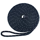 Amarine Made 1/2 Inch 20 FT Reflective Double Braid Nylon Dockline Dock Line Mooring Rope Double Braided Dock Line (Black)