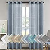 H.VERSAILTEX Natural Linen Blended Window Curtain Panels - Light Filtering Linen Sheer Curtains Nickel Grommet for Hall/Parlor/Guest Suite (Set of 2, 52' W x 96' L - Denim)