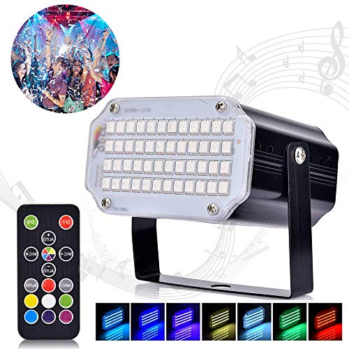 Huttoly Stroboskop Disco Licht Lichteffekte, 48 LED Strobe Licht Party Bühnenbeleuchtung Musikgesteuert Disco Strobe Lampe mit Fernbedienung Sprachaktiviertes RGB LED für Christmas Disco DJ Party KTV