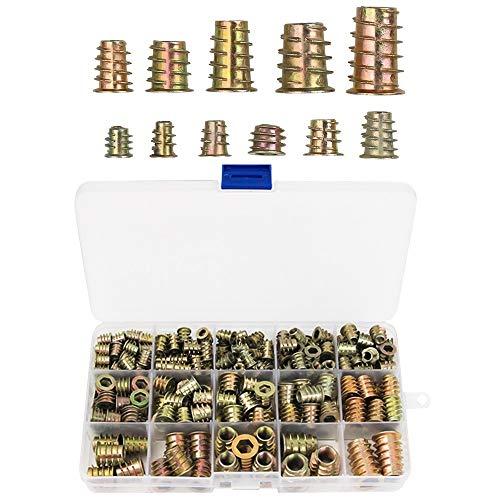 TOCYORIC 230 Stück M4/M5/M6/M8/M10 Zink-legierung Innensechskant Mutter, Einschraubmuffen Zinklegierung Rampamuffe Sortiment für Holzmöbel Gewindeeinsätze mit Aufbewahrungsbox