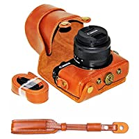 No1accessory XJPT-EOSM10-09 ブラウン Canon EOS-M10 with 15-45mm Lens 専用 防水 PU レザー 一眼レフ カメラバッグ カメラケース ハンドストラップ + カメラストラップ