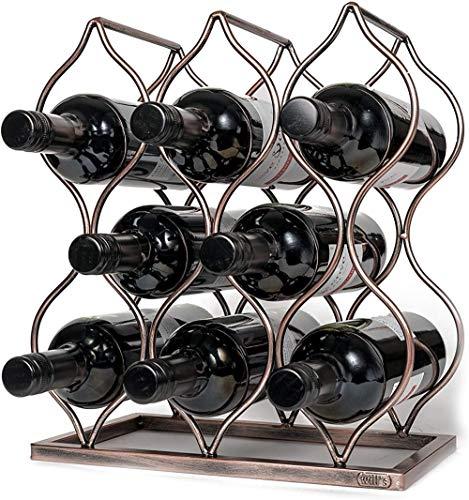 Mazu Homee Estante de vino de metal de escritorio, estante de vino de mesa separada y botella vintage con 8 botellas de vino, perfecto regalo vintage y accesorios para los amantes del vino, oro rosa