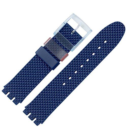 MARBURGER Uhrenarmband 18mm Kunststoff Blau Swatch Spezialanstoss - 9641870100520