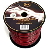 Cable de altavoz 2 x 1,50 mm², 100 m, rojo y negro, CCA, cable de audio