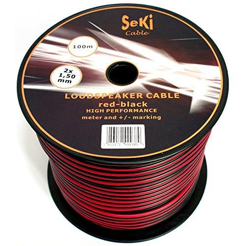 Cable de altavoz 2 x 1,50 mm², 100 m, rojo y negro, CCA, cable de audio