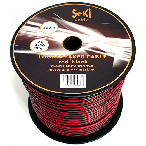 Cable de altavoz 2 x 1,50 mm², 100 m, rojo y negro, CCA, cable de...