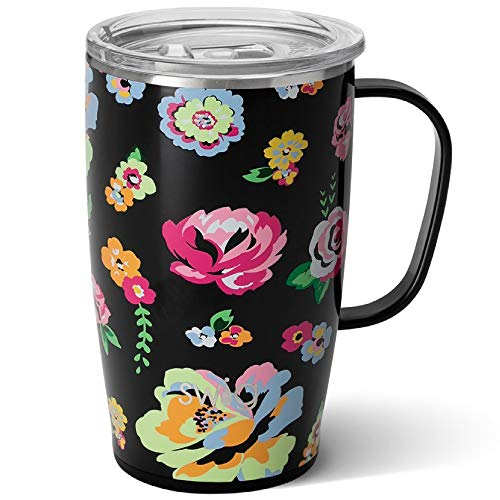 Swig Life 18oz Travel Mug with Handle and Lid, Stainless Steel, Dishwasher Safe, Cup Holder Friendly, Triple Insulated Coffee Mug...