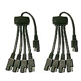KingBra - Cable adaptador de extensión de alimentación SAE (2 unidades, 18 AWG, 5 vías, 1 a 4)