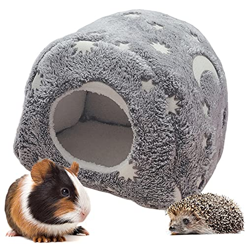 LeerKing Kleintiere Kuschelhöhle Fleece Leuchtende Bett Schlaf Nest Käfig Häuschen für Meerschweinchen Chinchillas Eidechse Nager Grau
