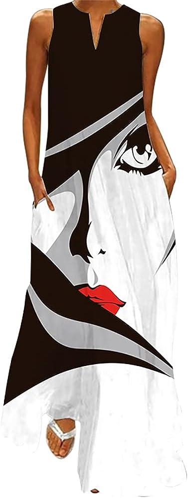 WEICHA Maxi Dresses with Pockets for Women V-Neck Sleeveless Long Dress Summer Floral Print Beach Casual Floor Length Dress