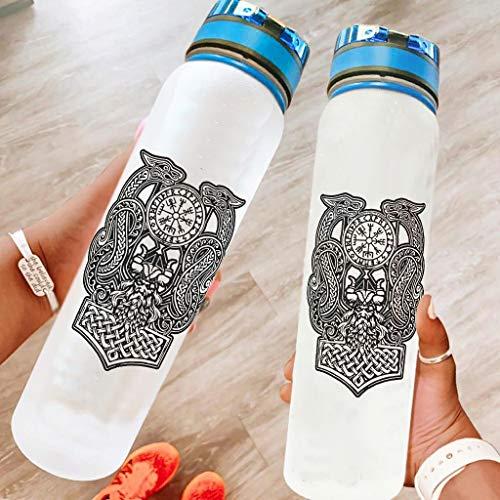 Niersensea Botella de deporte Vikingo Odin Drache sin BPA, botella deportiva de Tritan a prueba de fugas, para exteriores, color blanco, 1000 ml