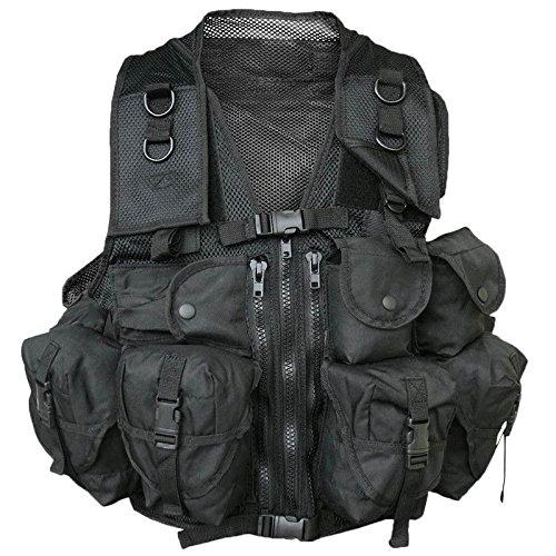 Gilet Veste Tactique Noir Multi Poches ET CARQUOIS Miltec 10712002 Airsoft