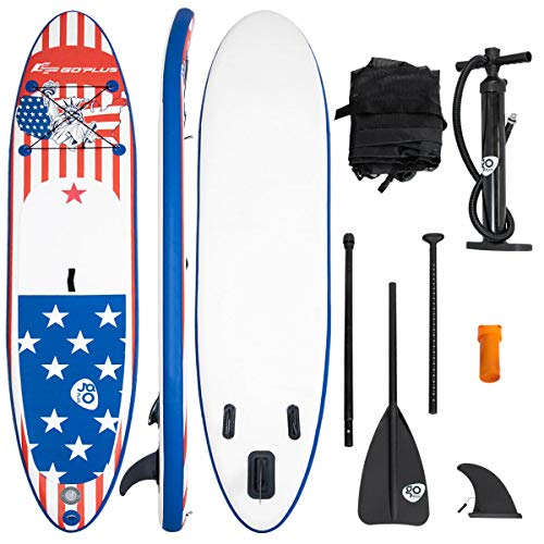 Goplus Inflatable Stand up Paddle Board iSUP Cruiser 6' Thickness iSUP Package w/3 Fins Thuster, Adjustable Paddle, Pump Kit and Carry Backpack (Bikini Girl, 10 FT)