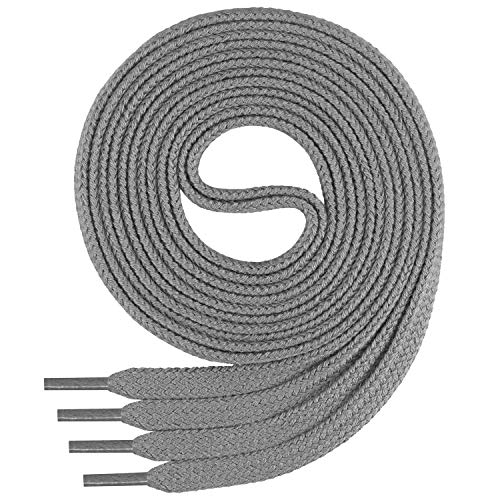 Di Ficchiano Flache SCHNÜRSENKEL aus 100% Baumwolle für Sneaker und Sportschuhe - sehr reißfest - ca. 7 mm breit-grey-90